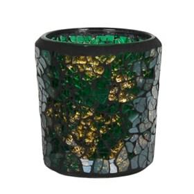 Green & Gold Crackle Mosaic Votive Holder