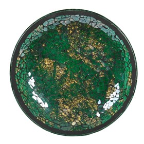 Green & Gold Crackle Mosaic Candle Plate