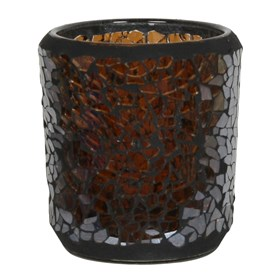 Chocolate Lustre Crackle Mosaic Votive Holder
