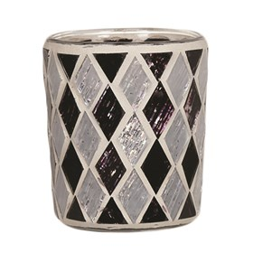Black & White Diamond Votive Holder