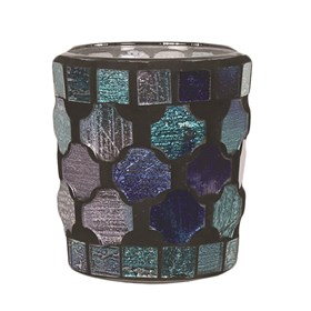 Mixed Blue Mosaic Votive Holder
