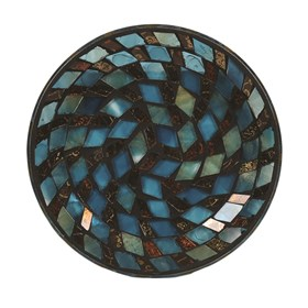 Teal Metallic Mosaic Candle Plate