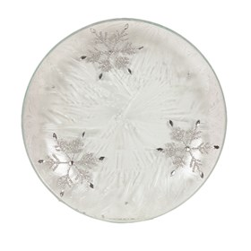 Frosted Snowflake Candle Plate