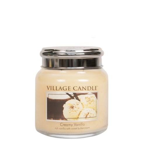 Creamy Vanilla Village Candle 16oz Scented Candle Jar - Metal Lid