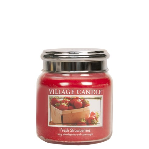 Fresh Strawberries Village Candle 16oz Scented Candle Jar - Metal Lid