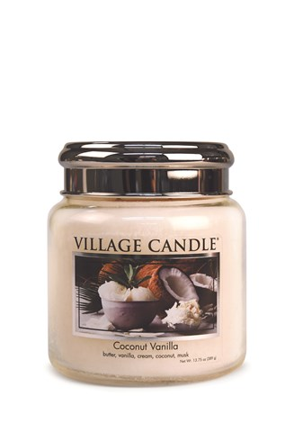 Coconut Vanilla Village Candle 16oz Scented Candle Jar - Metal Lid