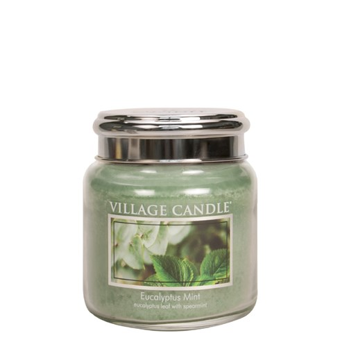 Eucalyptus Mint Village Candle 16oz Scented Candle Jar - Metal Lid