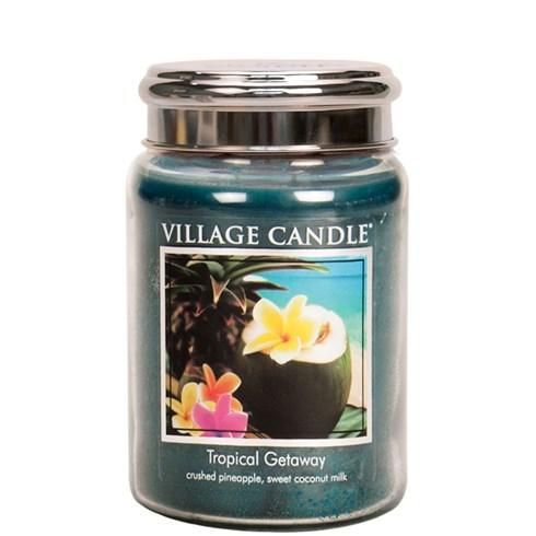 Tropical Getaway Village Candle 26oz Scented Candle Jar - Metal Lid