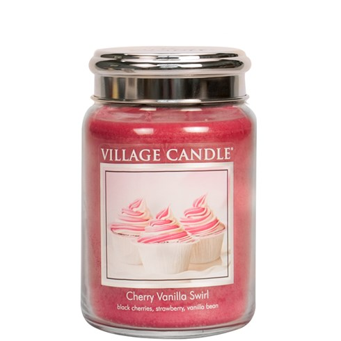 Cherry Vanilla Swirl Village Candle 26oz Scented Candle Jar - Metal Lid