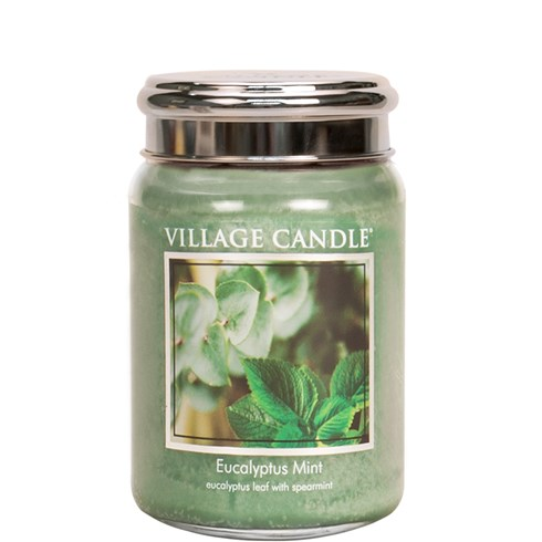Eucalyptus Mint Village Candle 26oz Scented Candle Jar - Metal Lid
