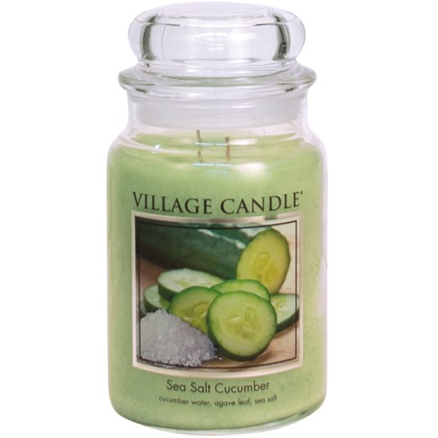 Sea Salt Cucumber Village Candle 26oz Scented Candle Jar - Glass Dome Lid