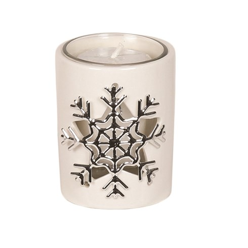 White Ceramic Snowflake Votive Holder