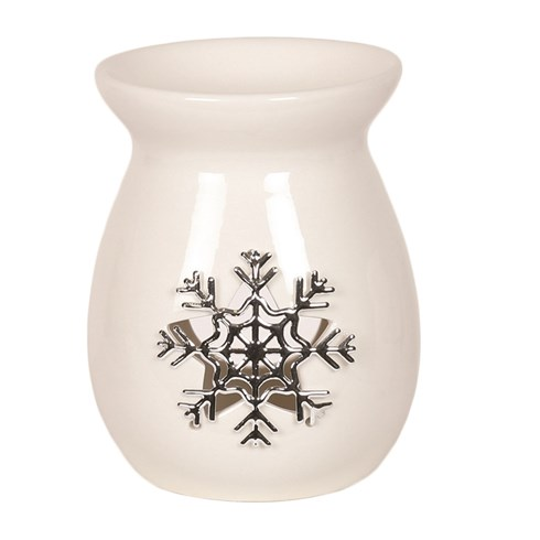 White Ceramic Snowflake Wax Melt Burner