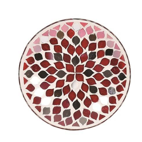 Candle Plate - Red Mirror Teardrop