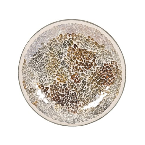 Gold and Silver Crackle Candle Plate