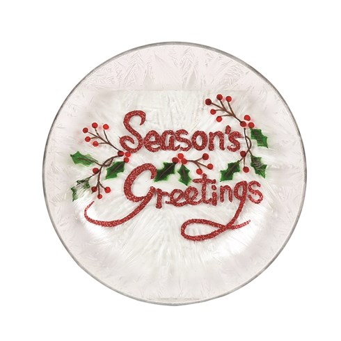 Season's Greetings Candle Plate