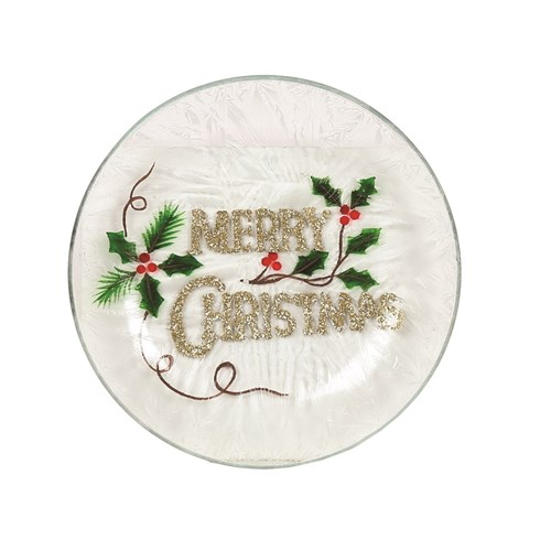 Merry Christmas Candle Plate