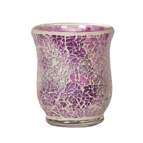 Hurricane Tealight Holder - Purple Crackle