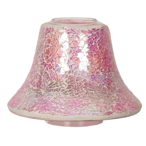 Candle Jar Lamp Shade - Pink Crackle