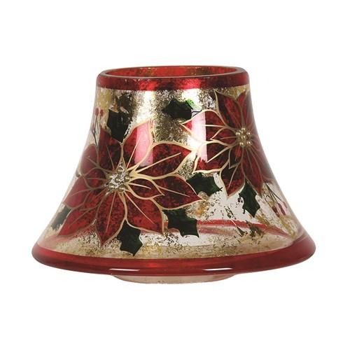 Poinsettia Candle Jar Lamp Shade