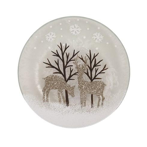 Gold Reindeer Candleplate 16cm
