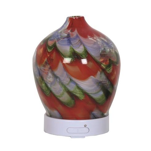 LED Ultrasonic Diffuser - Red Swirl Art Glass