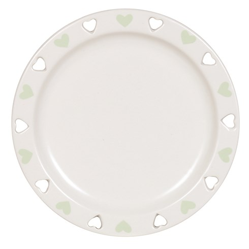 Ceramic Candle Plate - Green Heart