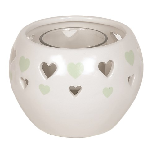Ceramic Tealight Holder - Green Heart