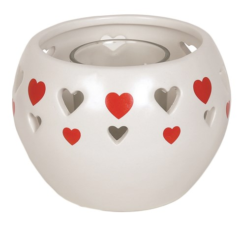 Ceramic Tealight Holder - Red Heart