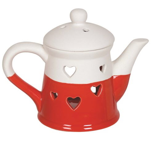 Teapot Wax Melt Burner - Red Heart