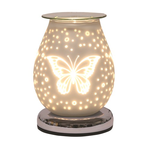 Oval White Satin Electric Wax Melt Burner Touch - Butterfly