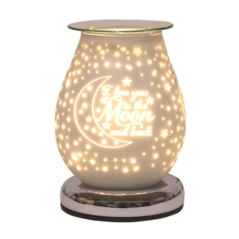 Oval White Satin Electric Wax Melt Burner Touch - Moon & Back