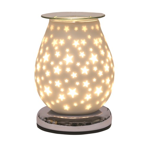 Oval White Satin Electric Wax Melt Burner Touch - Star