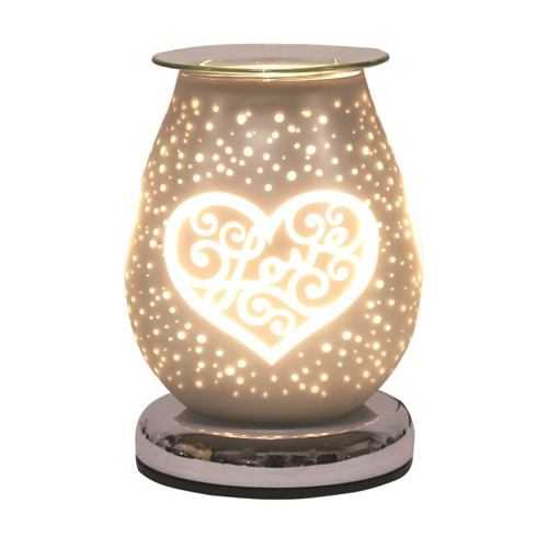 Oval White Satin Electric Wax Melt Burner Touch - Love Heart