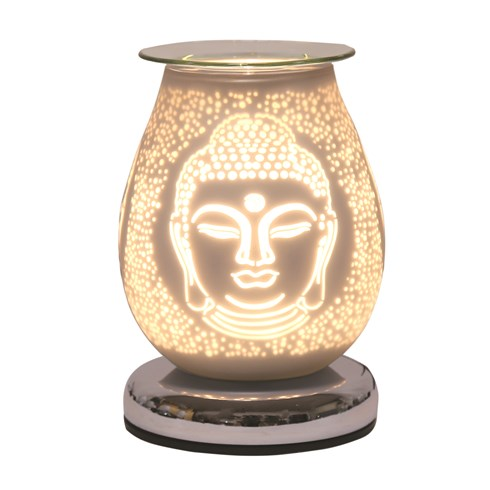 Oval White Satin Electric Wax Melt Burner Touch - Buddha