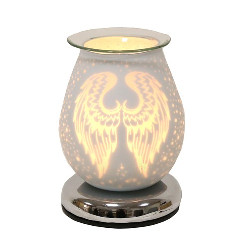 Oval White Satin Electric Wax Melt Burner Touch -  Angel Wings