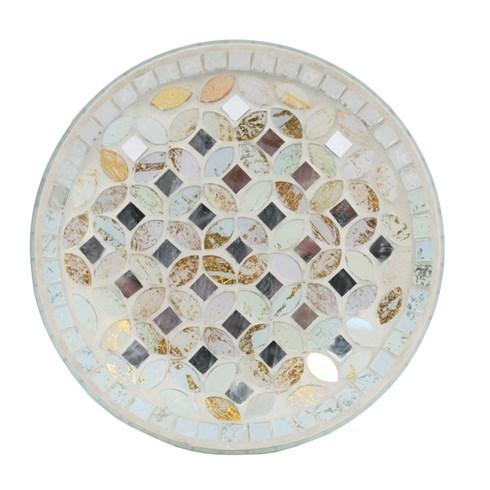 Cream & Gold Metallic Mosaic Candle Plate