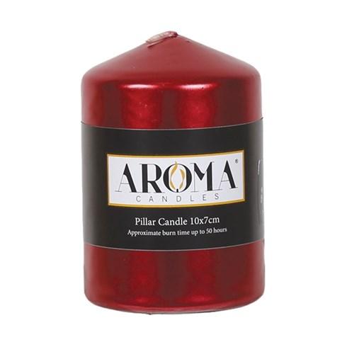 Metallic Red Pillar Candle