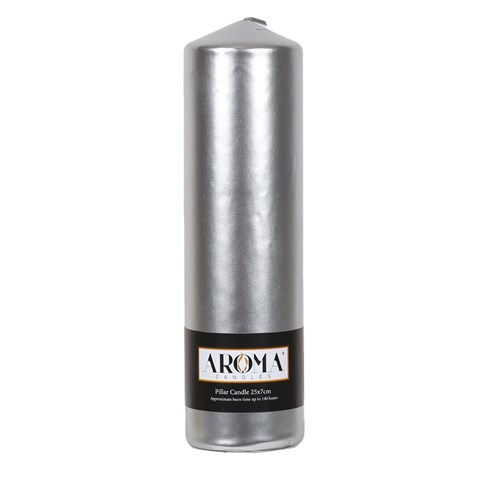 Metallic Silver Pillar Candle