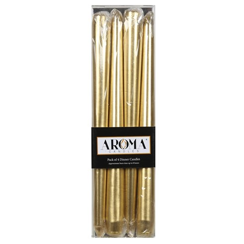 Pack of 4 Metallic Gold Dinner Candles