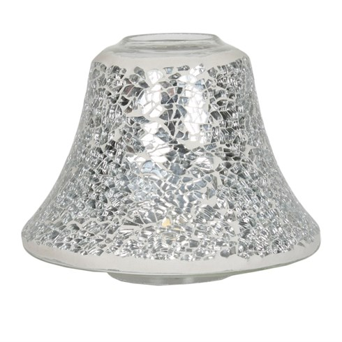 Candle Jar Lamp Shade - Silver Lustre Mosaic