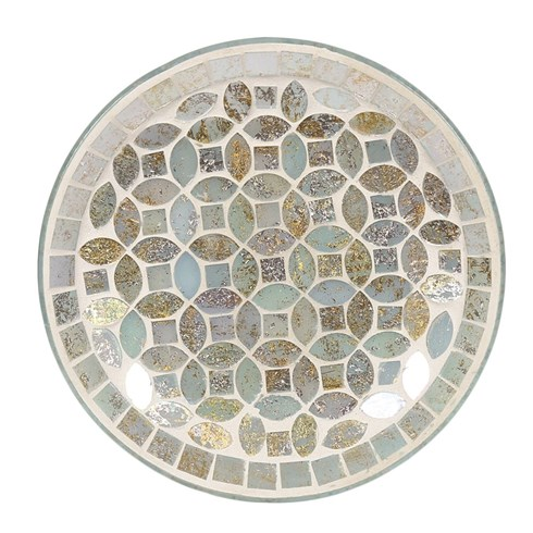 Smokey Gold Mosaic Candle Plate