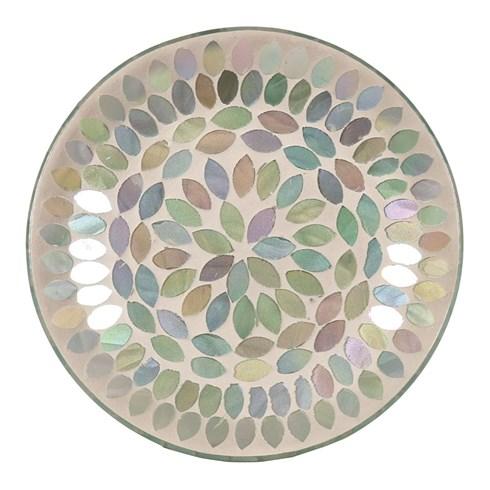 Candle Plate - Aqua Pearl