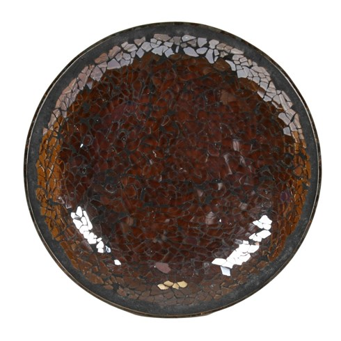 Chocolate Lustre Crackle Mosaic Candle Plate