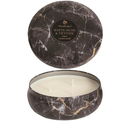 White Musk & Vetiver - Marble Candle Tin