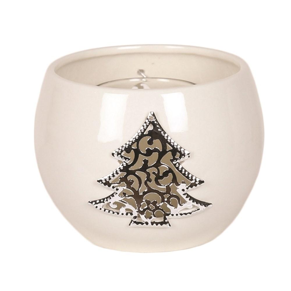 White Ceramic Christmas Tree Round Tealight Holder