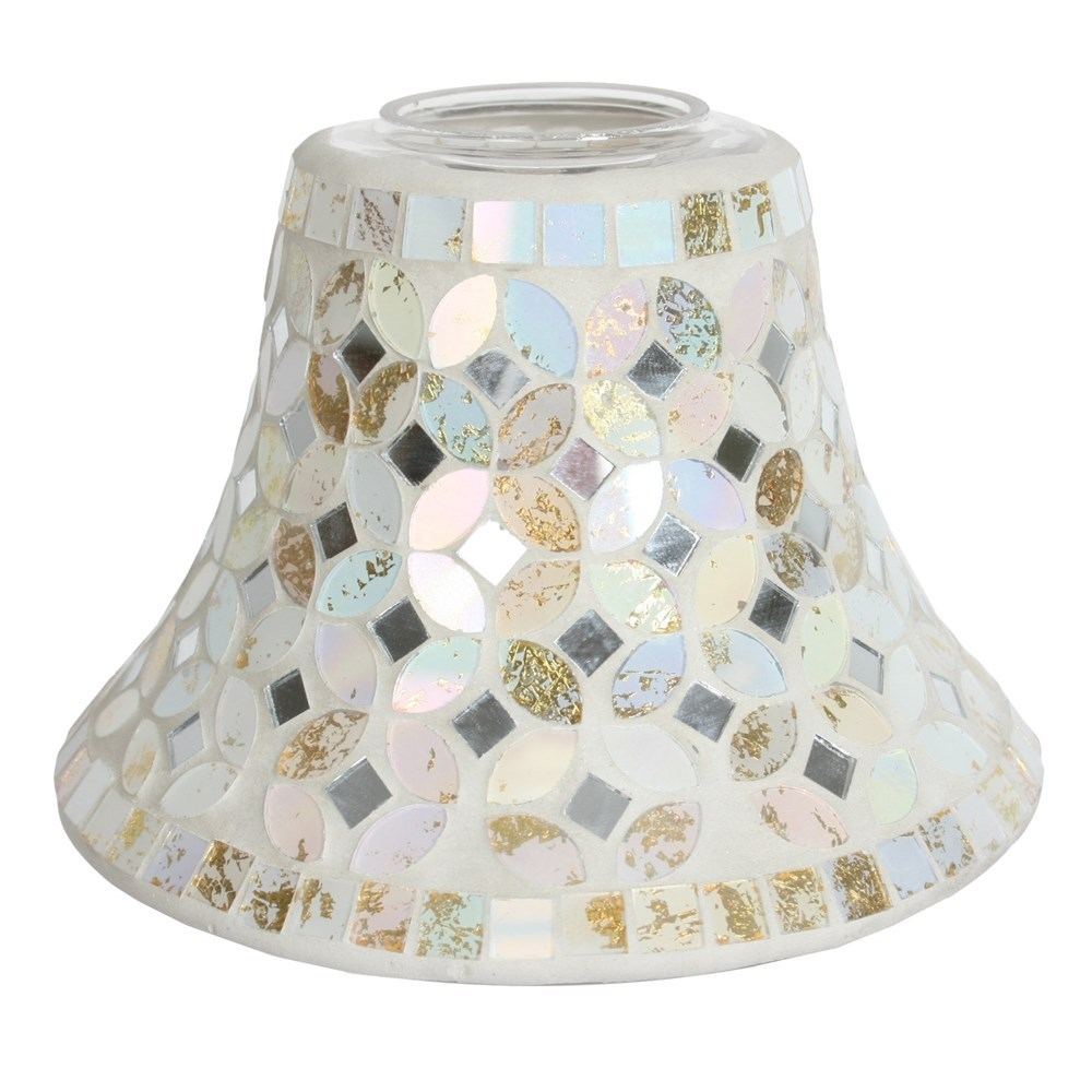 Cream gold metallic mosaic candle jar lamp shade aloadofball Gallery