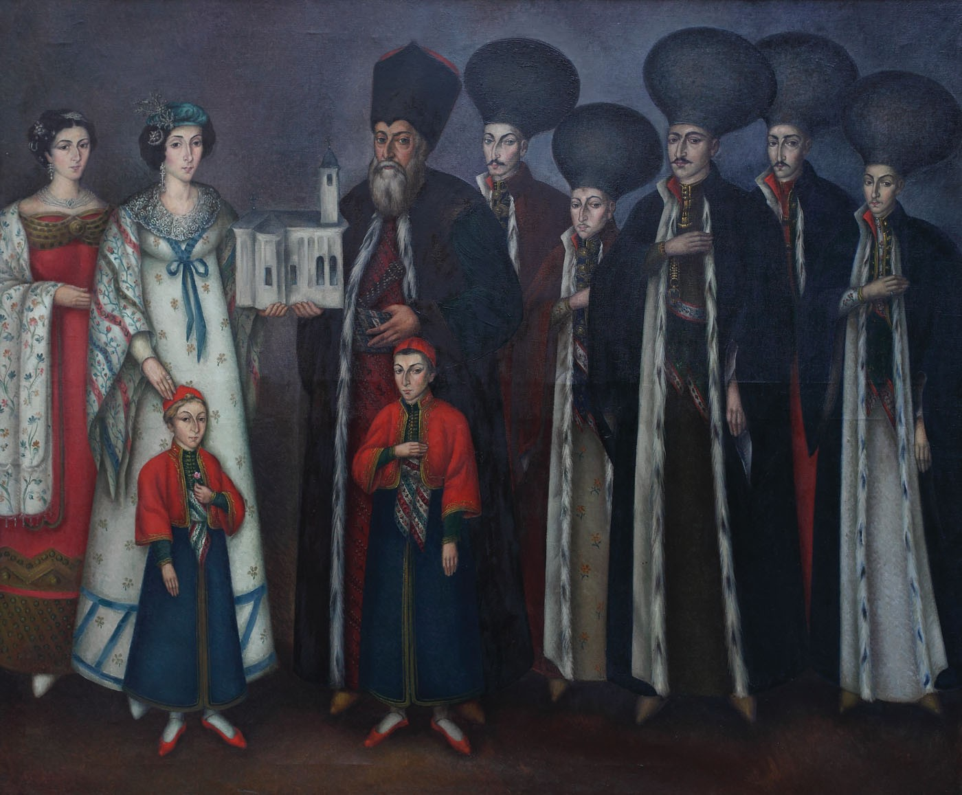 Imagini pentru Gheorghe Popescu, Ctitorii bisericii de la Leordeni, Marele Vornic Mihail George Manu și familia sa