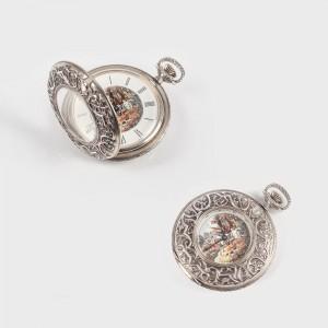 Ceas de buzunar, din argint, decorat cu scenă de vânătoare