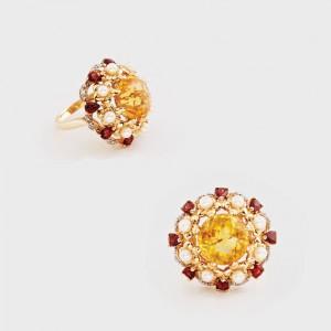 Inel Victoria Wieck, decorat cu diamante, citrin, granate şi perle
